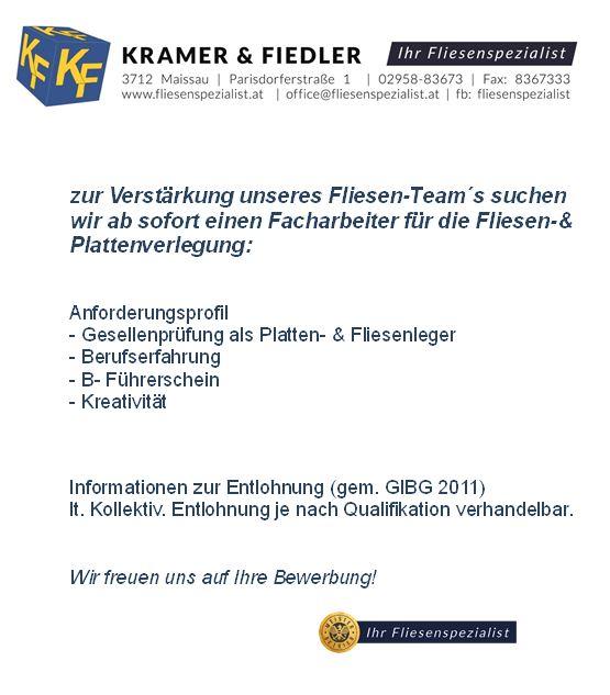 Fliesenspezialist - Fa. Kramer und Fiedler - Maissau